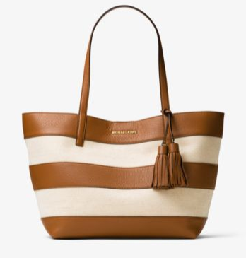 SAC SHOPPING STRIPE CANVAS CAMEL MK